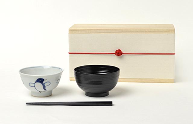 花田 ごはん茶碗セット 木箱付(ペンギン)男の子
