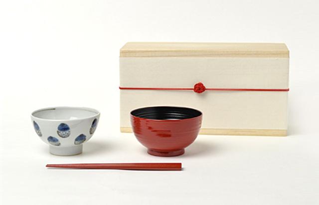 花田 ごはん茶碗セット 木箱付 (どんぐり)女の子