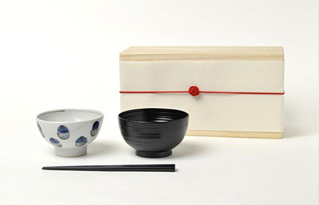 花田 ごはん茶碗セット 木箱付 (どんぐり)男の子