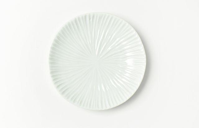 九谷青窯 白磁内しのぎ4.5寸皿(放射)
