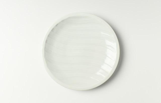 九谷青窯 白磁横しのぎ6.5寸皿