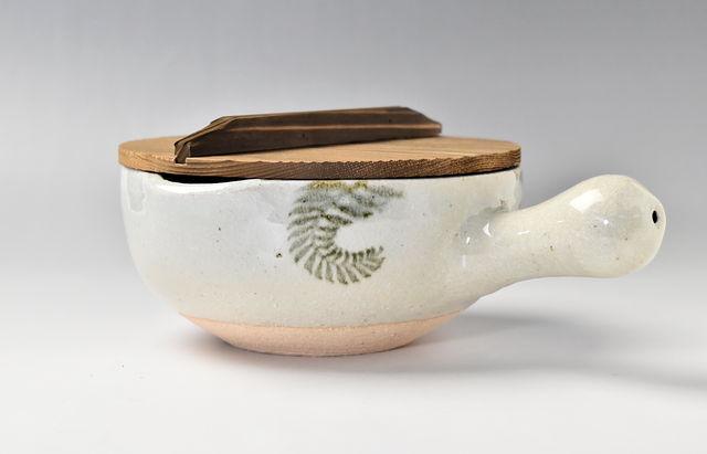 伊賀焼土楽 片手鍋(大)木蓋付