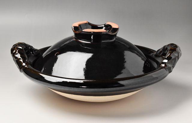 伊賀焼土楽 蓋付黒鍋 尺1