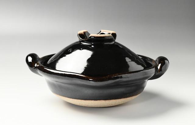 伊賀焼土楽 口付黒鍋7寸