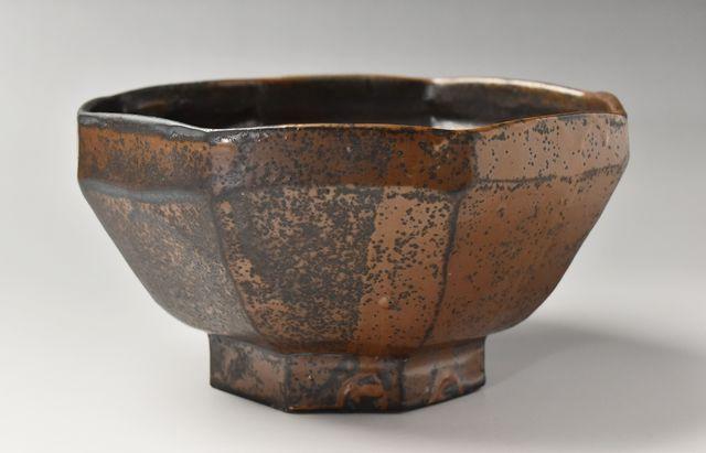 久平窯(久島 豊) 柿釉八角鉢