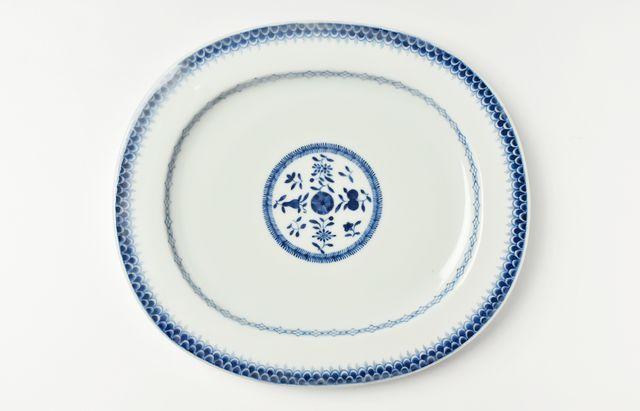 【一点もの】中村幸一郎 染付青海波楕円皿
