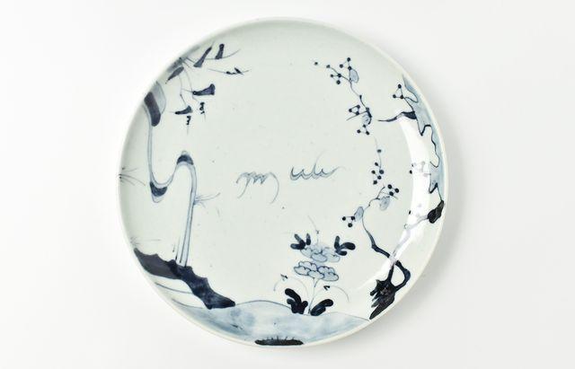 藤塚光男 19◆流水梅に草花文8寸皿(石)
