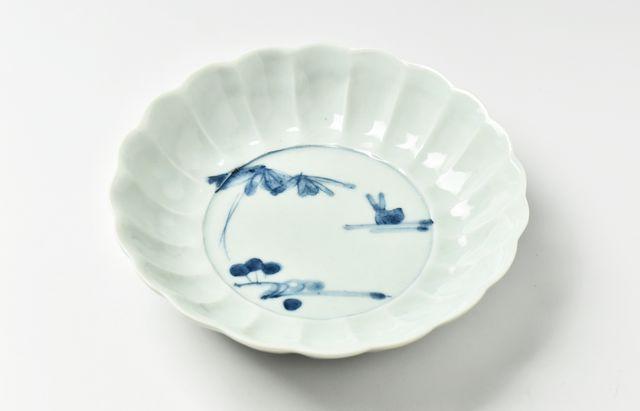 藤塚光男 流水兎輪花5.5寸鉢【H】