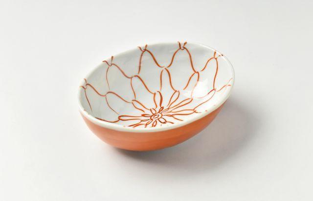 ほたる窯 赤絵網目楕円小鉢