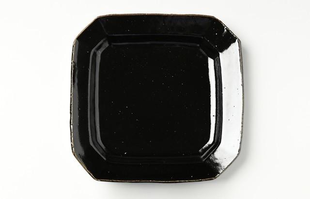 古賀雄二郎 隅切四方リム皿8寸 黒釉