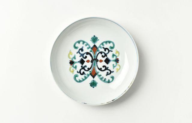 須谷窯 色絵花弁文5寸皿