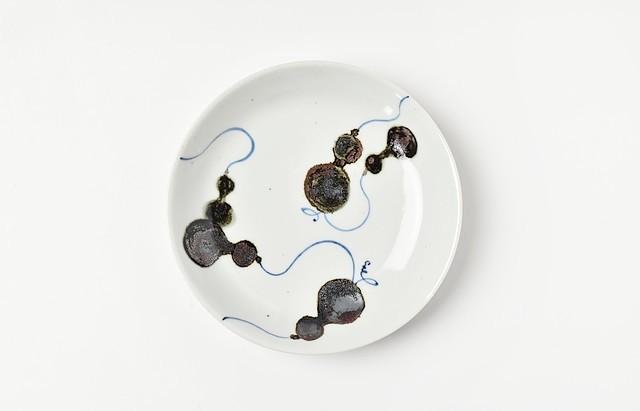 須谷窯 錆ひさご文5寸皿