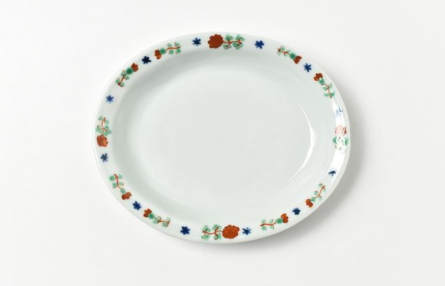 須谷窯 赤絵バラ文楕円皿
