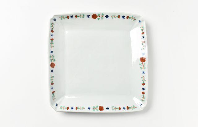 須谷窯 赤絵バラ文角皿