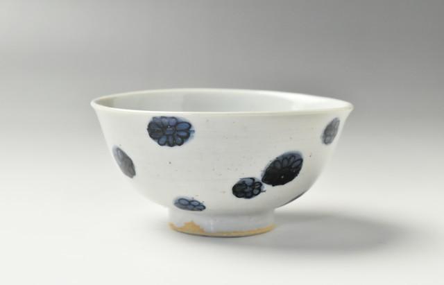 須谷窯 飯碗 花文(小)