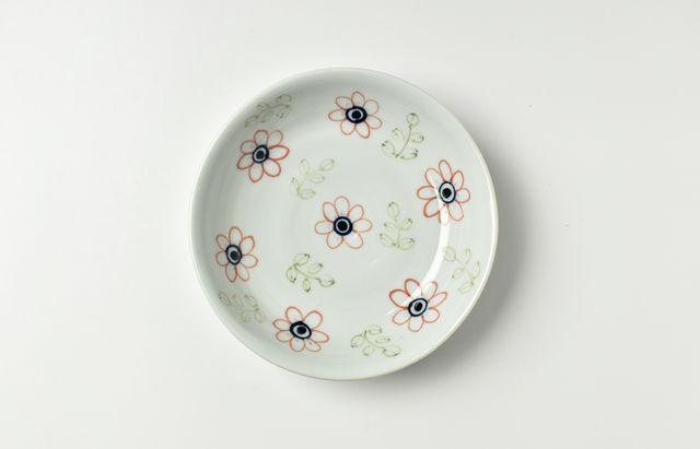 林京子 48色絵七つ花文皿