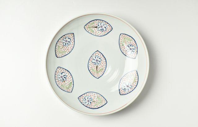 林京子 172色絵浮き桜草8寸皿