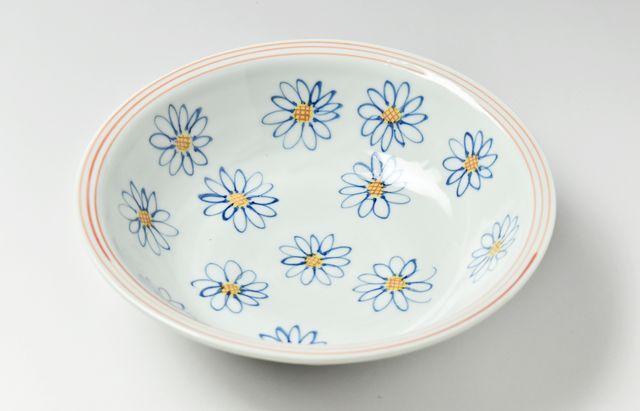 林京子 139色絵群れ菊中鉢
