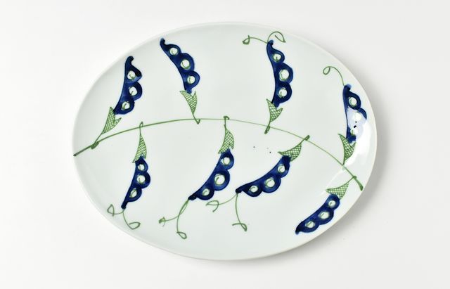 林京子 緑青さやえんどう楕円皿