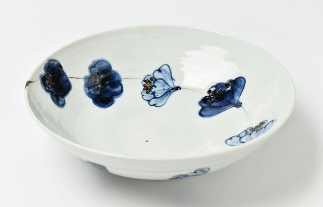 林京子 7.5寸鉢鉄絵つなぎ椿