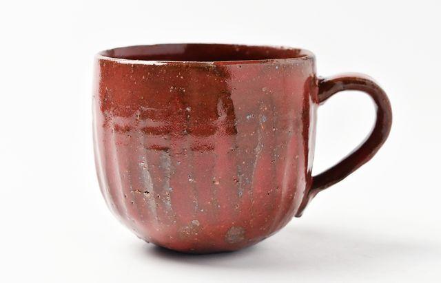 川村宏樹 赤釉鎬マグカップ