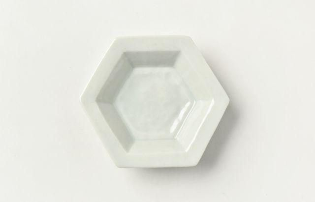 海野裕 白磁六角深小皿【H】
