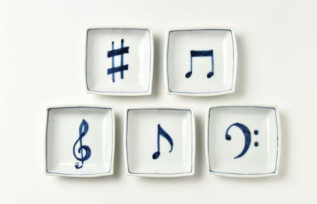 海野裕 音符角小皿セット【H】