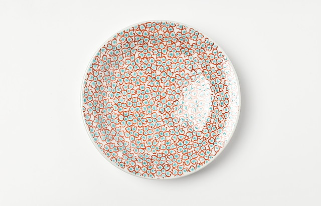 海野裕 色絵花詰5寸皿