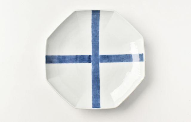 海野裕 襷文八角皿