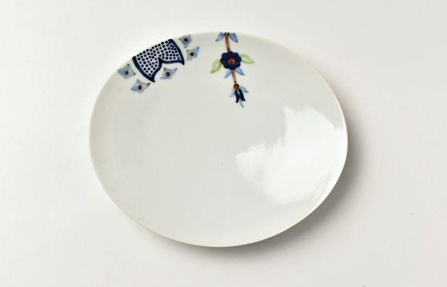 岡本修 色絵更紗文楕円皿