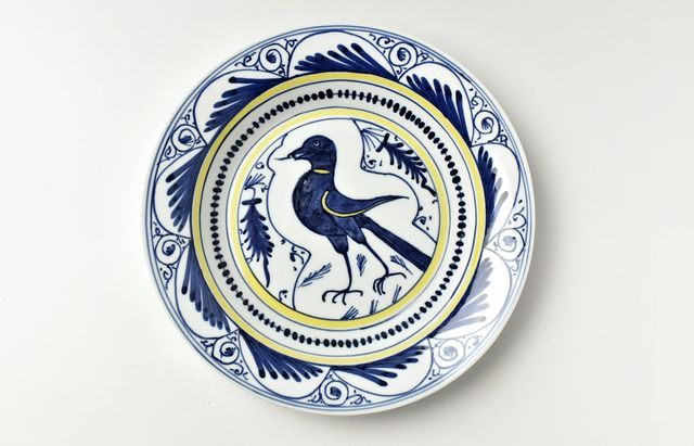 岡本修 染付鳥文リム付8.5寸盛皿