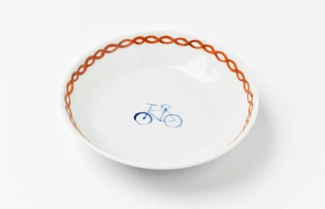 岡本修 色絵鎖文自転車小鉢
