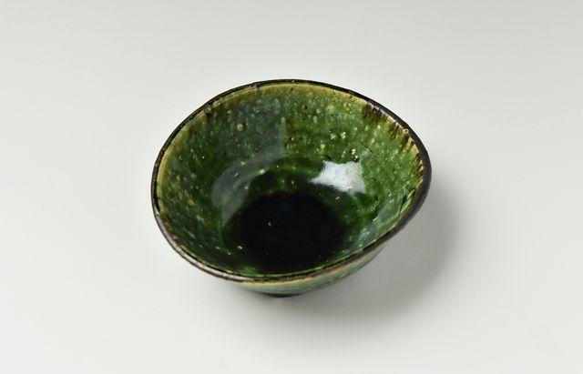吉田学 織部縁鉄楕円小鉢