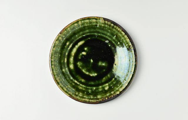 吉田学 織部縁鉄5寸皿