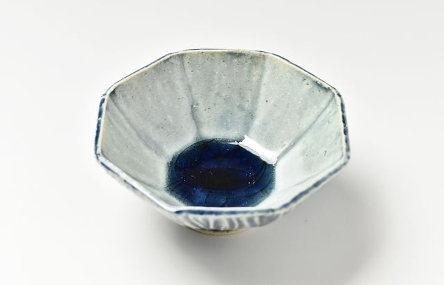 雪ノ浦裕一 藍釉八角豆鉢【H】