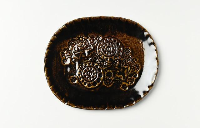 杉本寿樹 飴釉印花オーバルプレート18cm