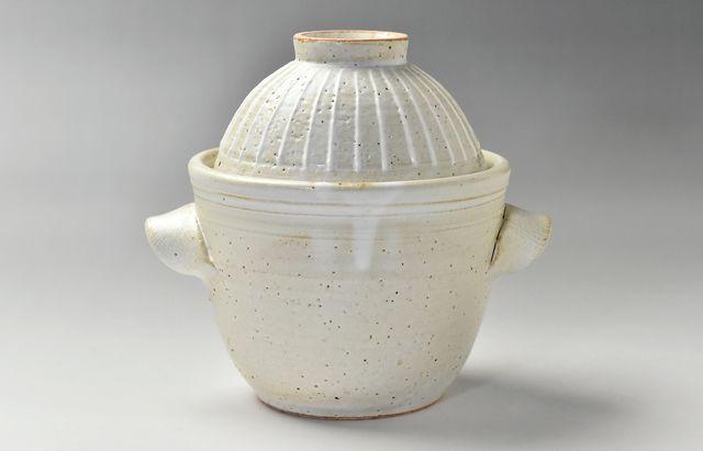 陶房独歩炎 飯碗付一人用炊飯釜 白