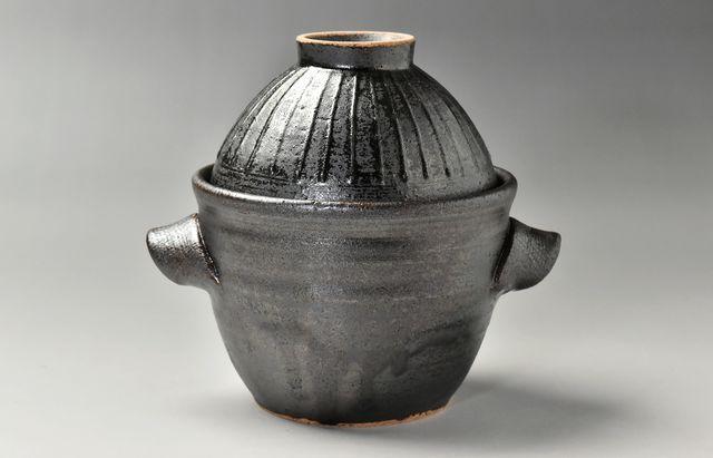 陶房独歩炎 飯碗付一人用炊飯釜 アメ
