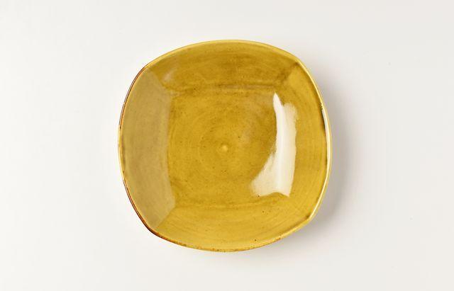 阿部春弥 黄磁四方4.5寸皿