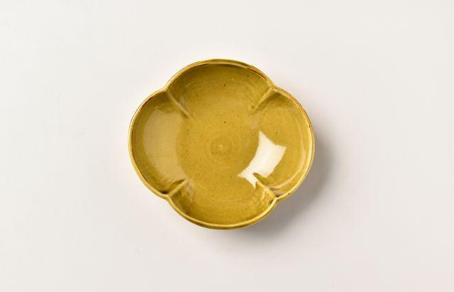 阿部春弥 黄磁木瓜小皿