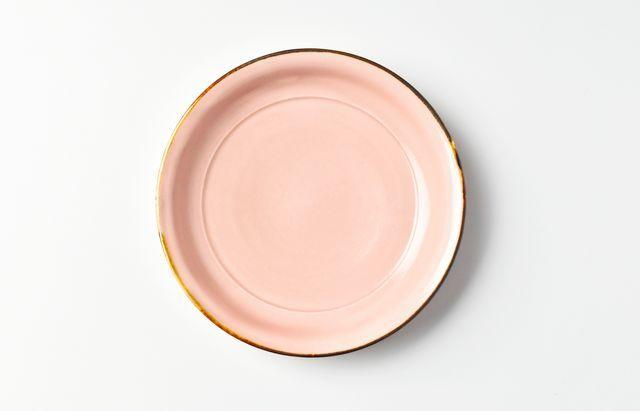 阿部春弥 ピンク端反4寸皿