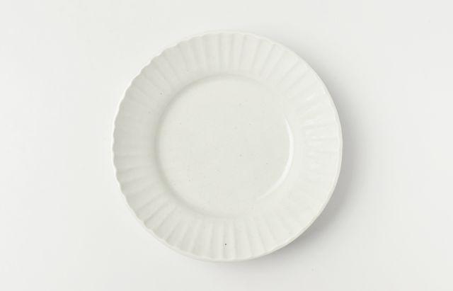 阿部春弥 白磁縞リム5.5寸深皿
