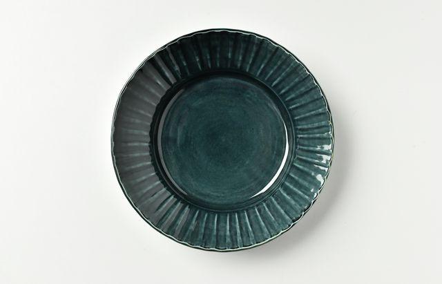 阿部春弥 淡ルリ縞リム5.5寸深皿