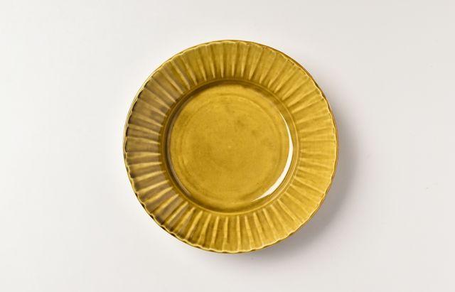 阿部春弥 黄磁縞リム5.5寸深皿