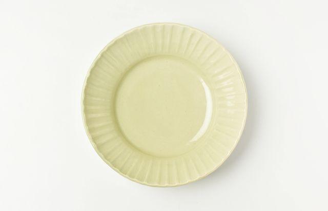 阿部春弥 もえぎ縞リム5.5寸深皿