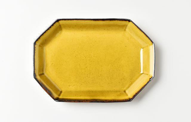 阿部春弥 黄磁八角長方皿