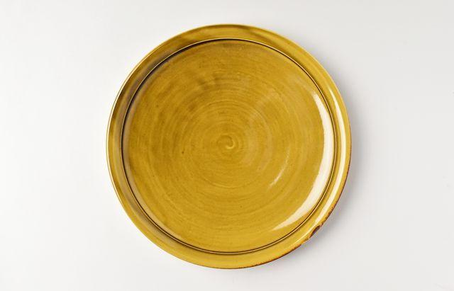 阿部春弥 黄磁丸縁8寸皿