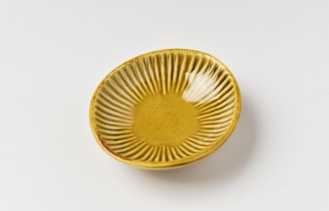 阿部春弥 黄磁しのぎ楕円豆鉢