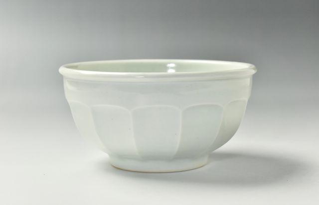 阿部春弥 白磁面取5寸丸鉢
