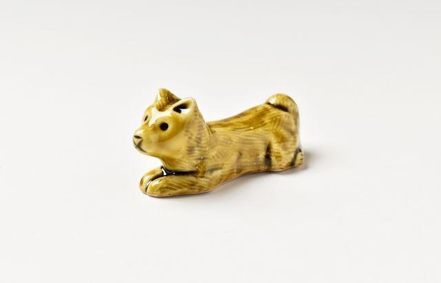 阿部春弥 箸置(犬・立型)黄磁